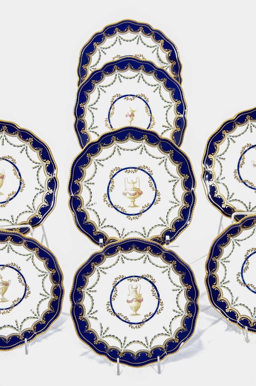 British 12 Royal Crown Derby Cobalt Blue Neoclassical Dessert Plates For Sale