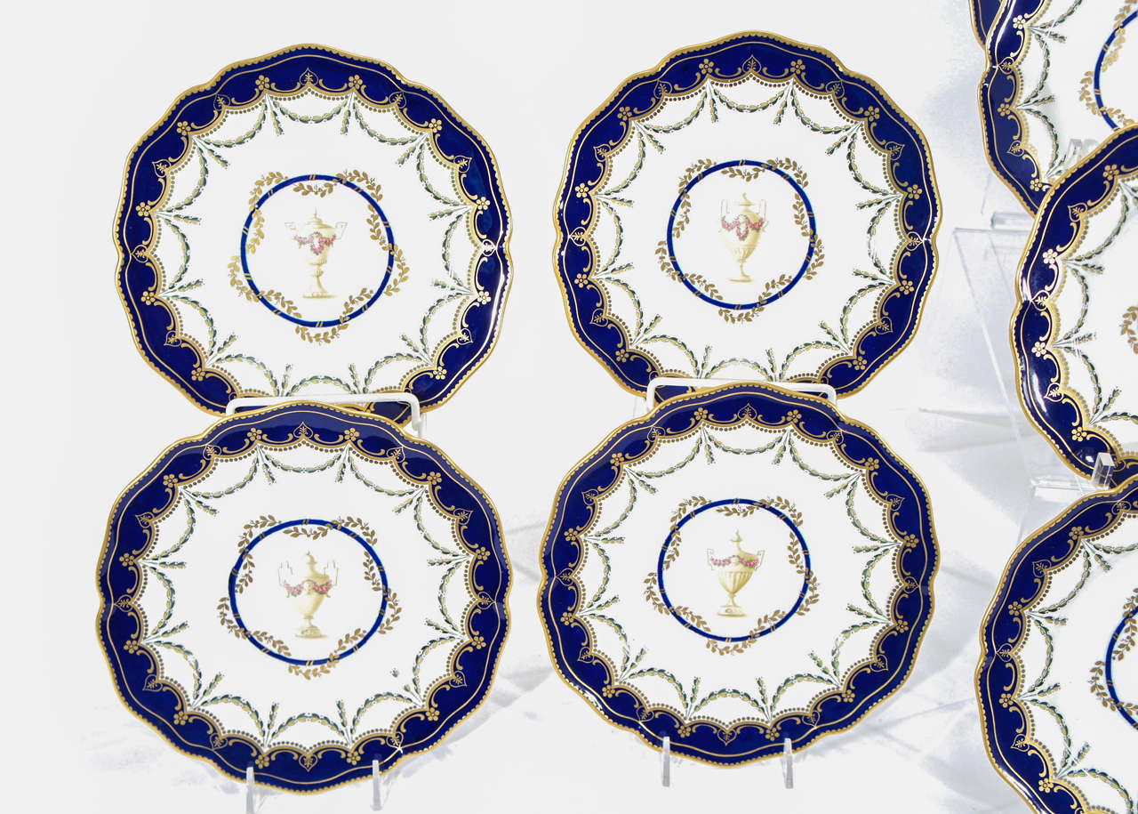 12 Royal Crown Derby Cobalt Blue Neoclassical Dessert Plates In Excellent Condition For Sale In Great Barrington, MA