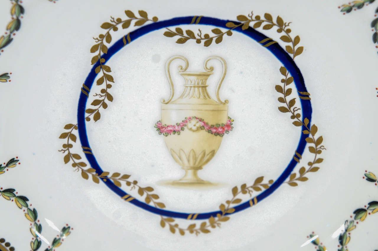 20th Century 12 Royal Crown Derby Cobalt Blue Neoclassical Dessert Plates For Sale