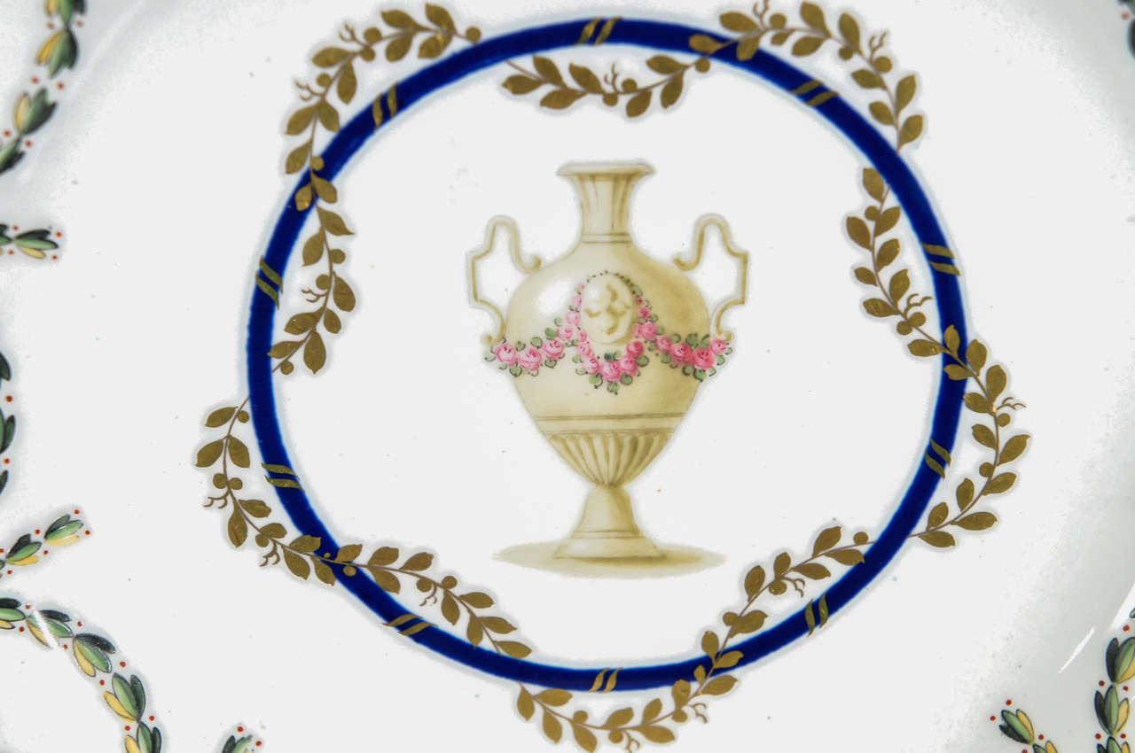 Paste 12 Royal Crown Derby Cobalt Blue Neoclassical Dessert Plates For Sale