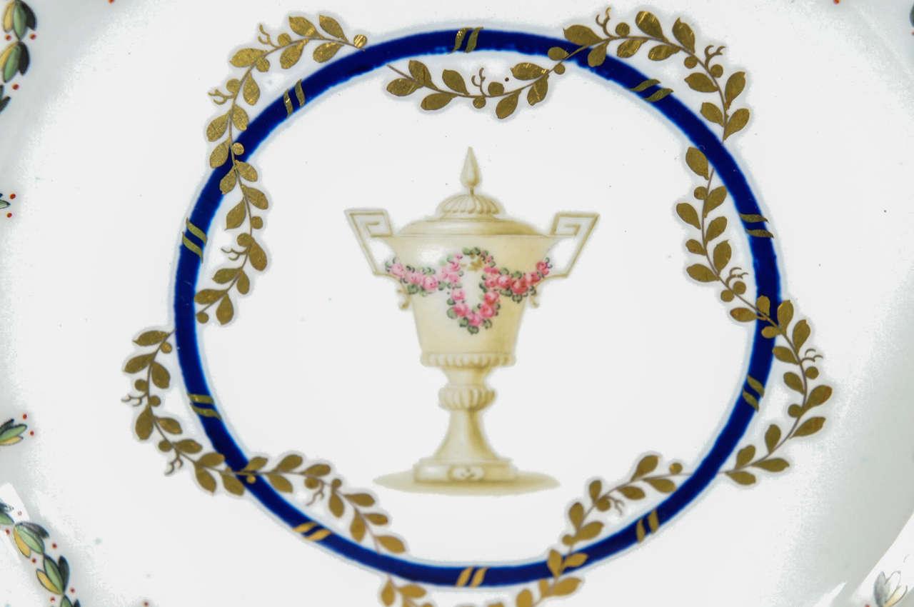 12 Royal Crown Derby Cobalt Blue Neoclassical Dessert Plates For Sale 1