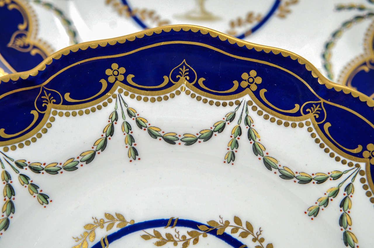 12 Royal Crown Derby Cobalt Blue Neoclassical Dessert Plates For Sale 2