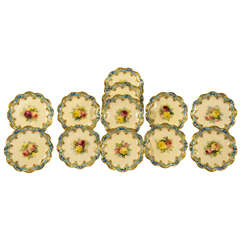 Set of 12 George Jones/Crescent, Hand Painted Dessert Plates w/ Roses