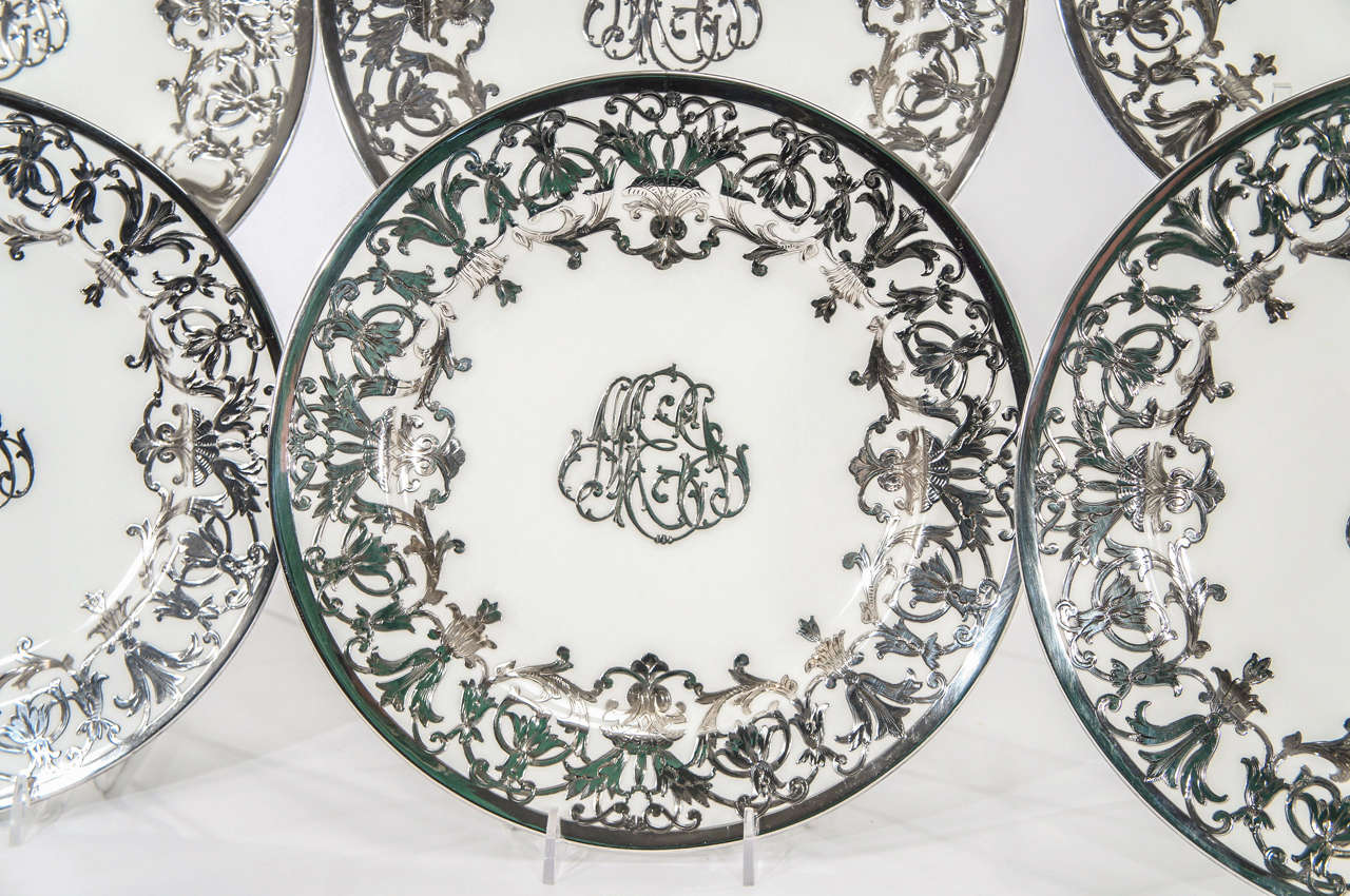 British 12 Minton Art Nouveau Sterling Silver Overlay Service or Dinner Plates For Sale