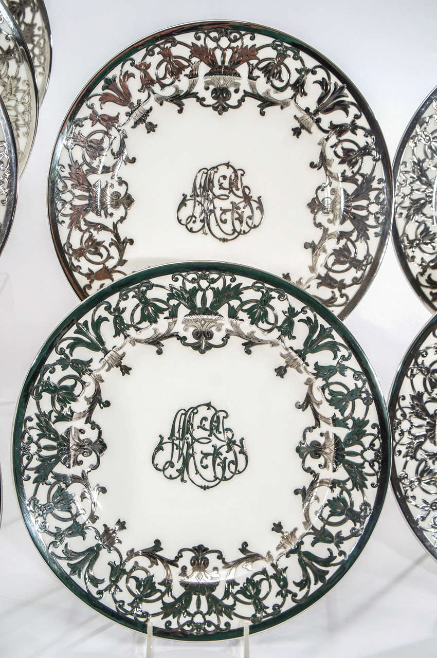 12 Minton Art Nouveau Sterling Silver Overlay Service or Dinner Plates In Excellent Condition For Sale In Great Barrington, MA