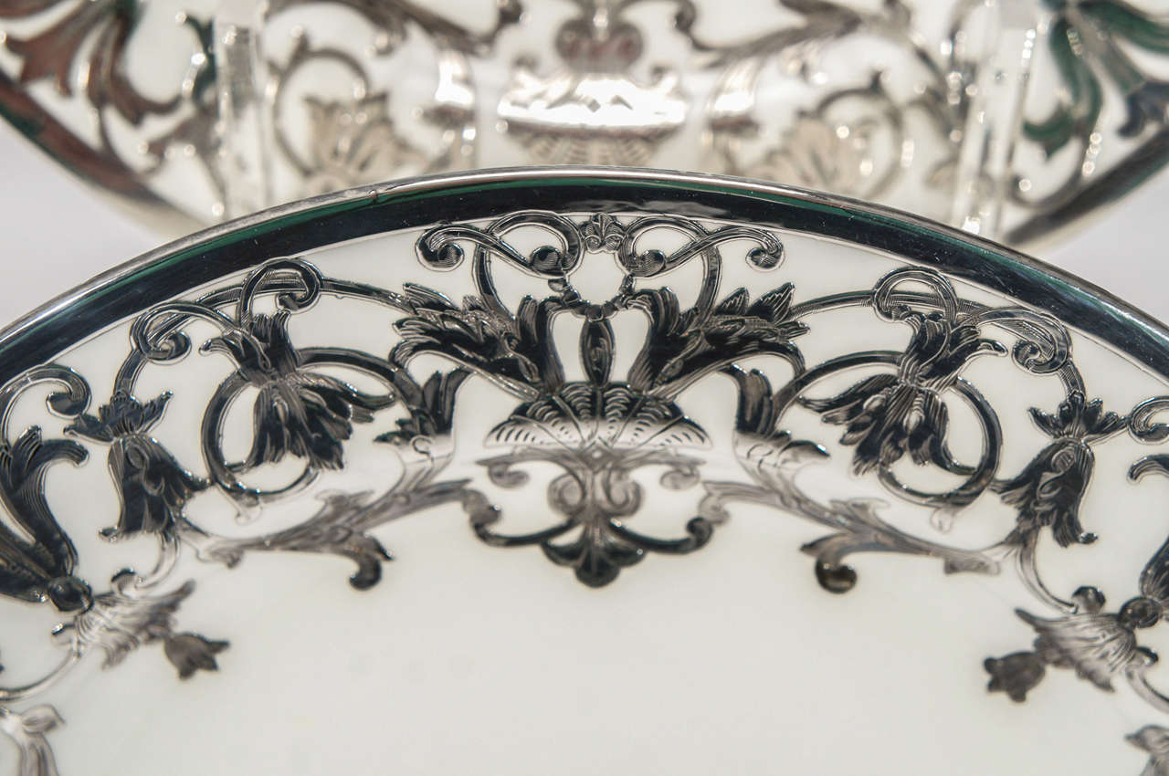 Paste 12 Minton Art Nouveau Sterling Silver Overlay Service or Dinner Plates For Sale