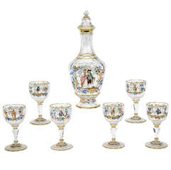 Signed Lobmeyr 7 Piece Hand Painted Crystal Liqueur Set
