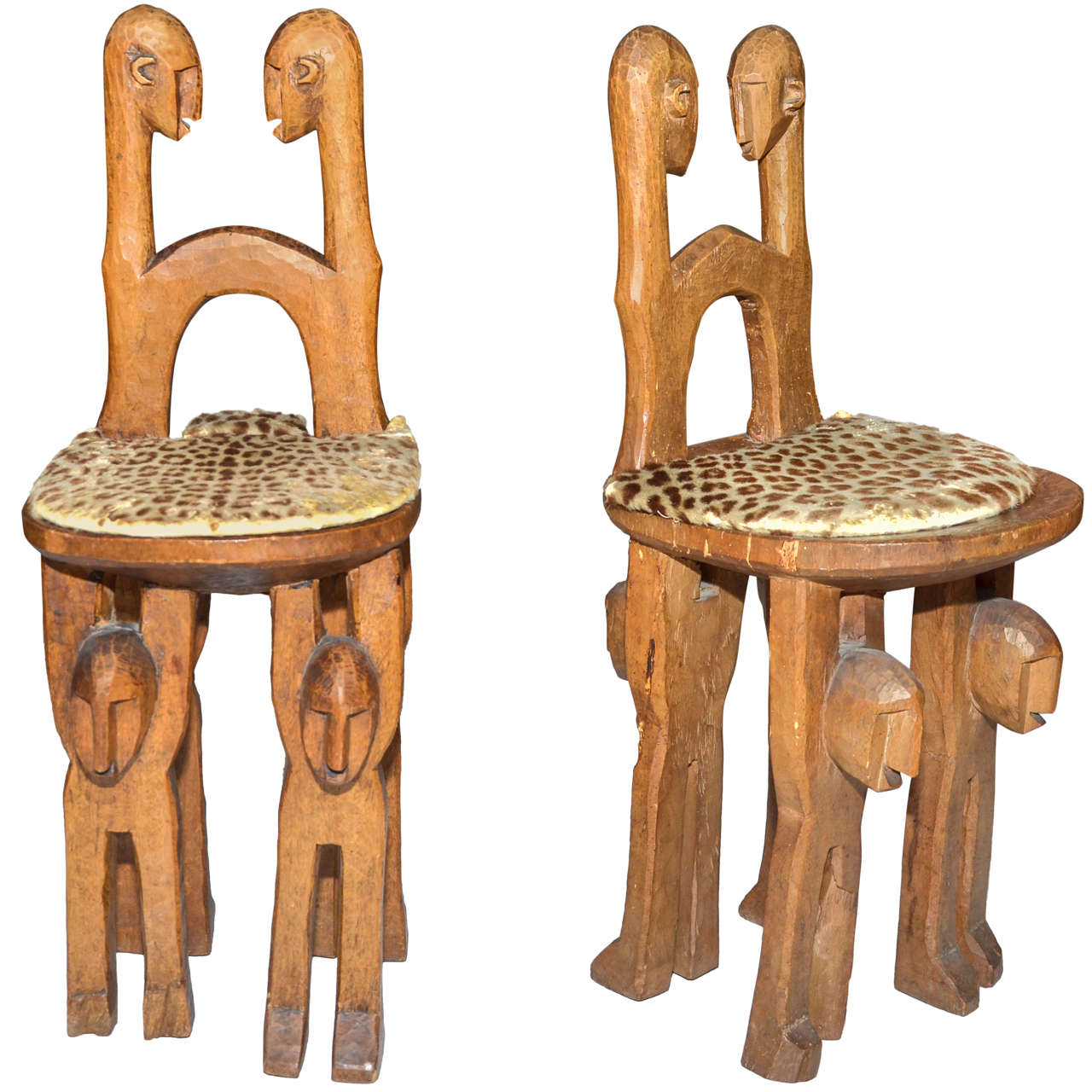Two 1920s African Chairs From The Bambaras Tribe In Mali