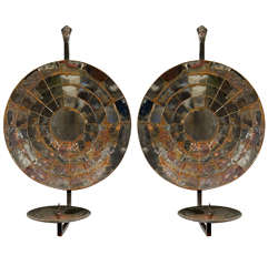 Pair of Mirrored 20C. Circular Candle Sconces