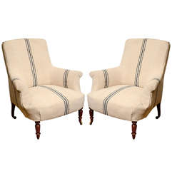 Pair of French Napoleon Square Back Armchairs