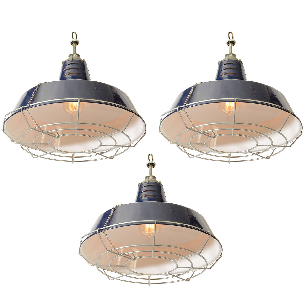 Usa blue industrial enamel shade cage pendant lights at 1stdibs aloadofball Gallery