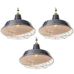 USA Blue Industrial Enamel Shade Cage Pendant Lights