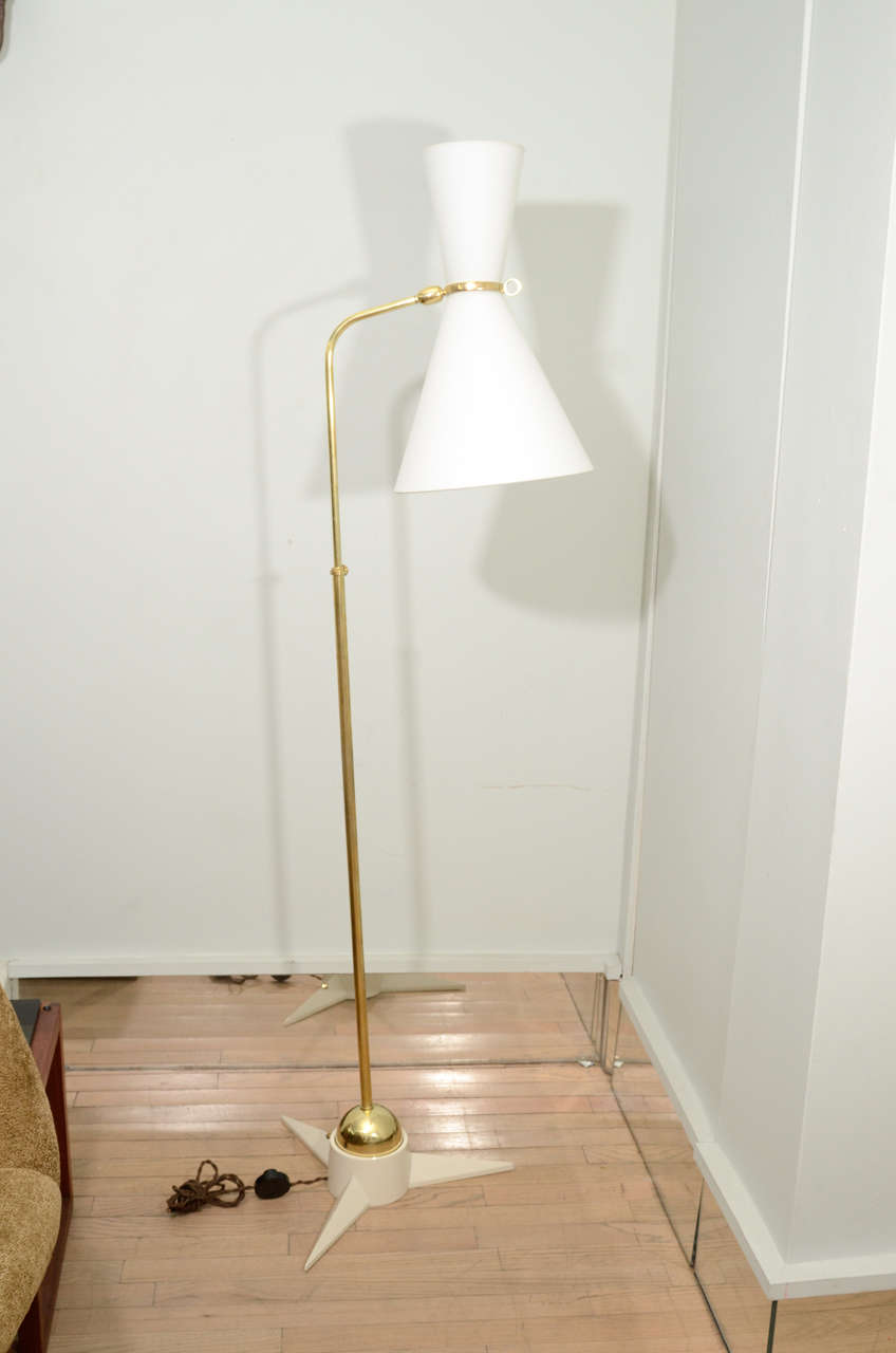Mid-Century Modern Pair of Robert Mathieu Floor Lamps For Sale