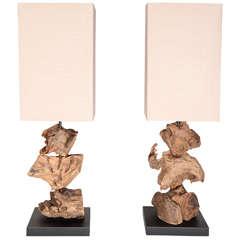 Pair Of Organic Driftwood Table Lamps in Natural Teak Root Wood