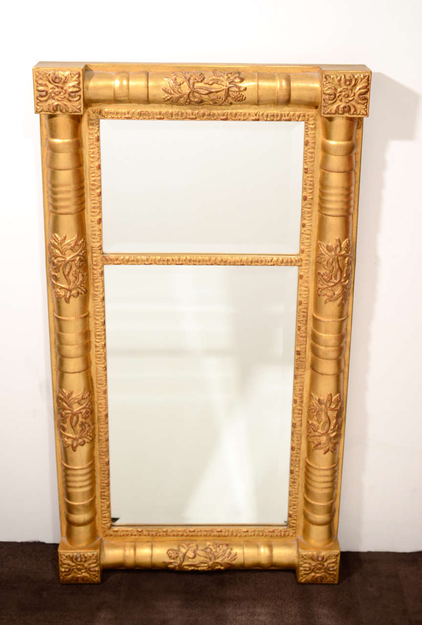 Top Traditional Wood Mirror with Hand Laid Antique Gold Leaf and Hand  OL63