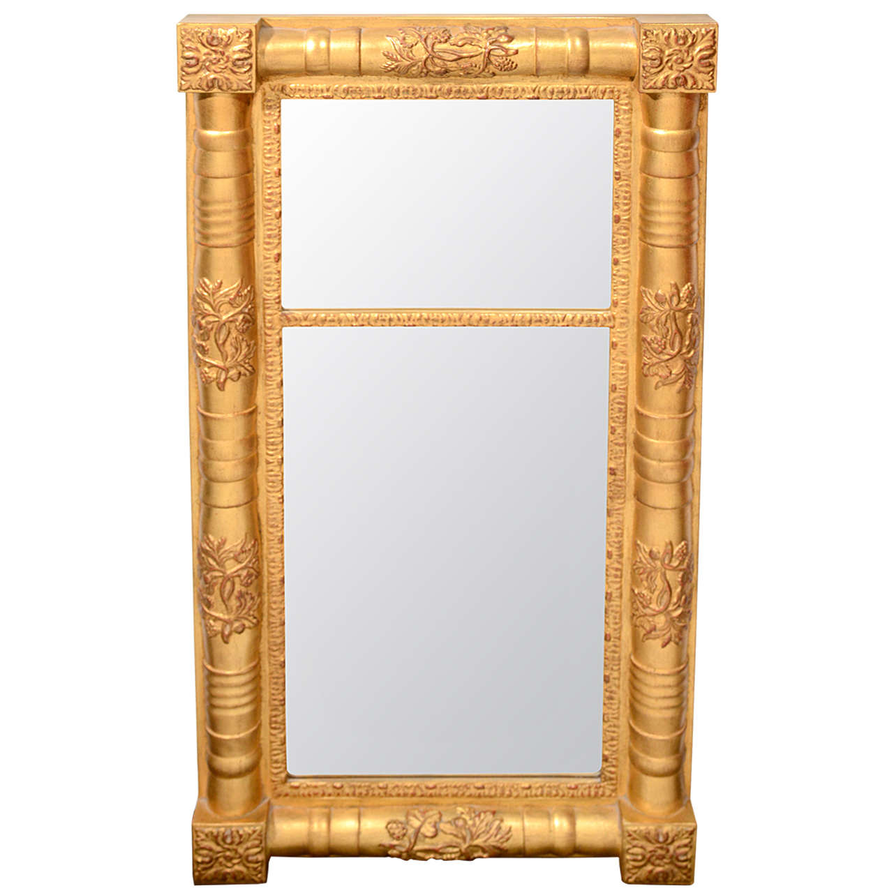 Traditional Wood Mirror With Hand Laid Antique Gold Leaf