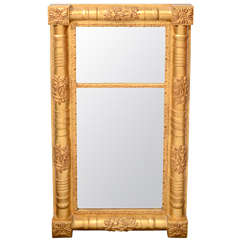 Traditional Wood Mirror with Hand Laid Antique Gold Leaf and Hand-Carved Designs