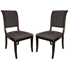 Pair of Neoclassical Side Chairs with High Back Sleigh Design
