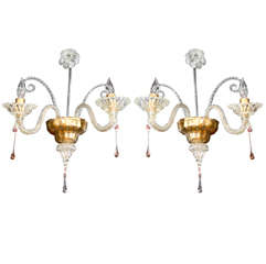 Pair Of Exquisite Hand Blown Venetian Scrolled Sconces