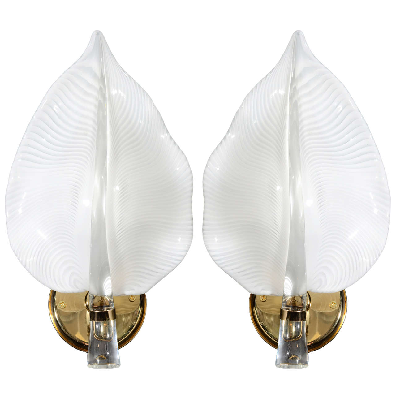 Large Elegant Wall Sconces : Pair of Elegant White Murano Glass Leaf Sconces at 1stdibs
