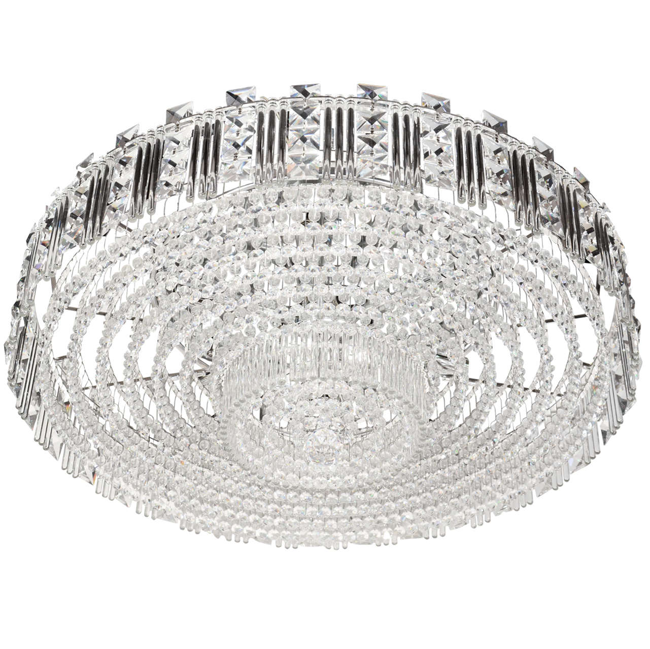 Hollywood Regency Cut Crystal and Glass Rod Flush Mount Chandelier