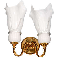 Elegant Mid-Century Modern Murano Glass Sconce with Fazzoletto Design