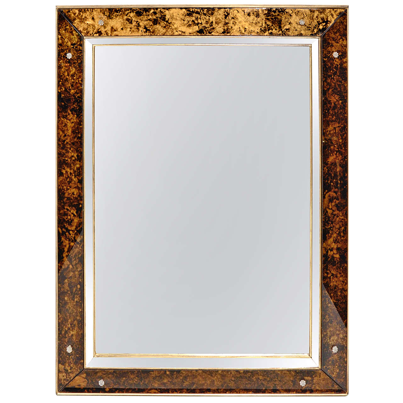Elegant mirror with tortoise glass borders and with for Elegant mirrors