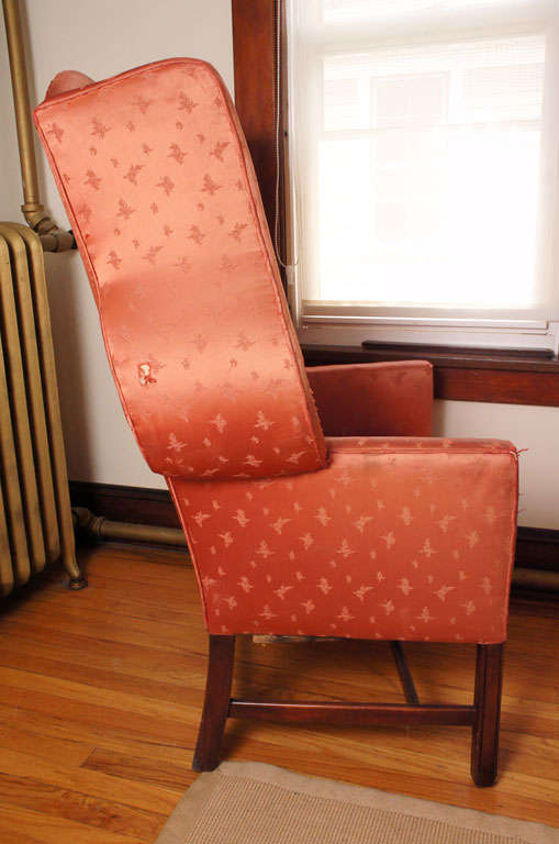 American Boldly Figured Wingback Chair For Sale