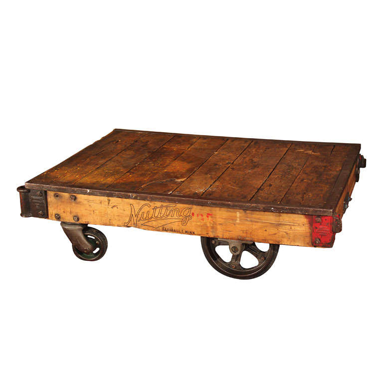 Industrial Coffee Table On Wheels At 1stdibs: Nutting Factory Cart At 1stdibs