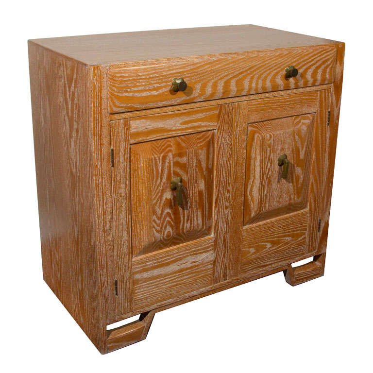 Cerused Oak Kitchen Cabinets Gorgeous Cerused Oak Kitchen: Cerused Oak Cabinet With Brass Detail At 1stdibs