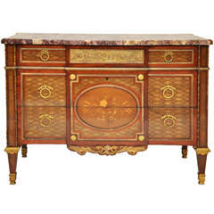 French Louis XVI Style Inlaid and Ormolu Mounted Chest of Drawers
