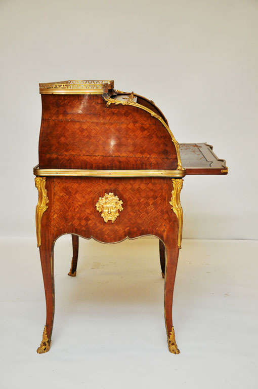 Appliqué 18th Century French Transitional Cylinder Desk / Writing Table For Sale