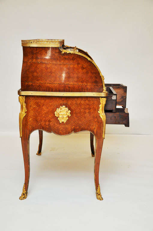 Bronze 18th Century French Transitional Cylinder Desk / Writing Table For Sale