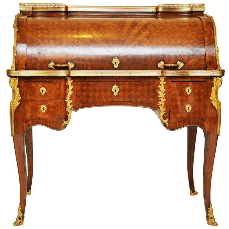 18th Century French Transitional Cylinder Desk / Writing Table