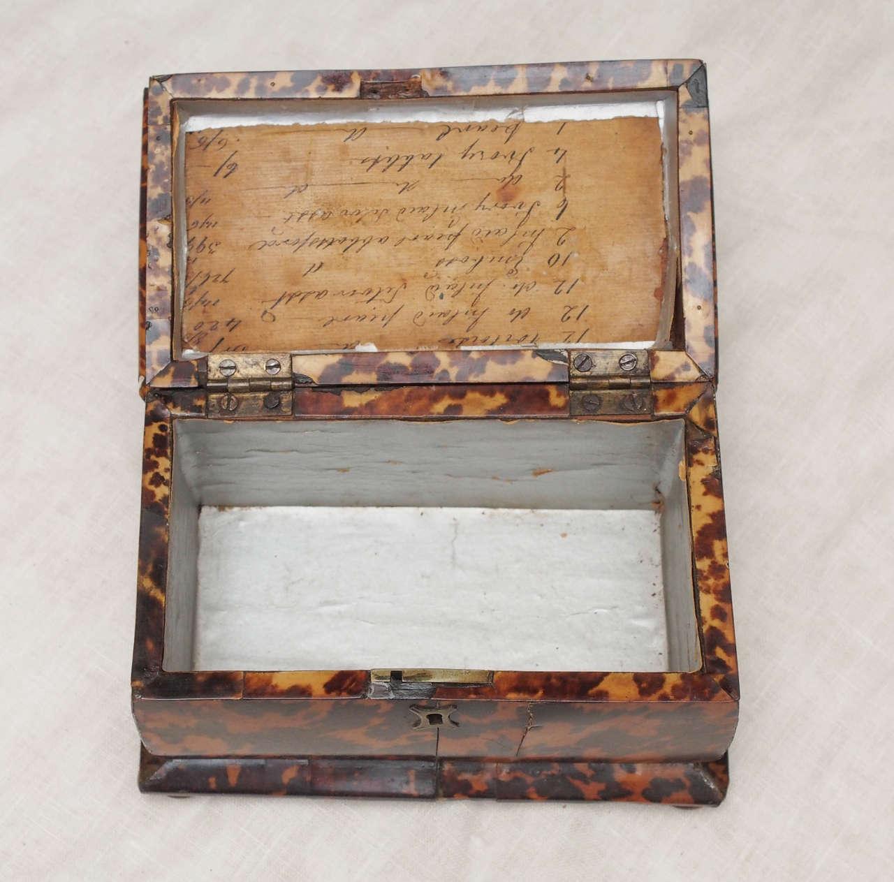 19th Century English Regency Tortoishell Tea Caddy For Sale