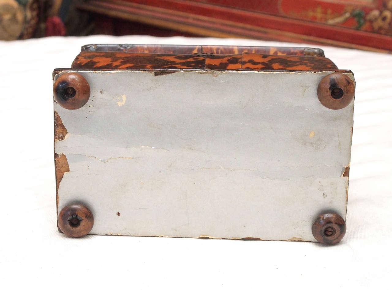 English Regency Tortoishell Tea Caddy For Sale 3