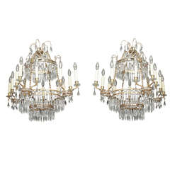 Pair of Late 19th Century Baltic Bronze and Crystal Chandeliers