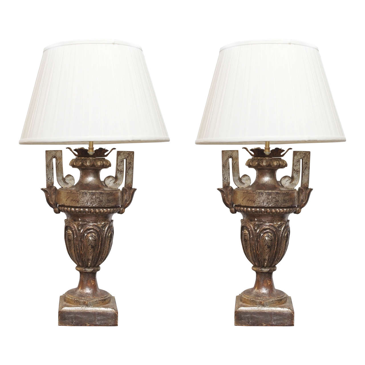 Pair of 19th Century Silver Gilt Urns now Mounted as Table Lamps