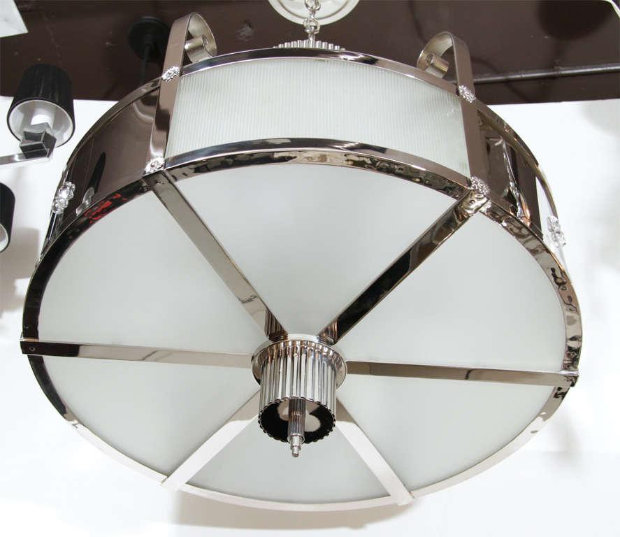 American Outstanding Art Deco Chandelier With Nickeled Bronze