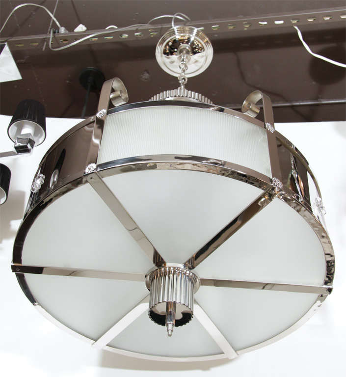 Outstanding Art Deco Chandelier With Nickeled Bronze In Excellent Condition In New York, NY