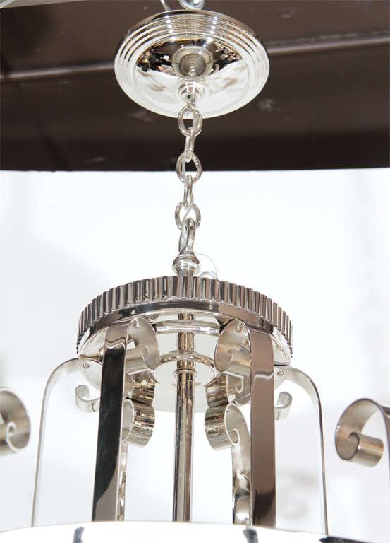 Mid-20th Century Outstanding Art Deco Chandelier With Nickeled Bronze