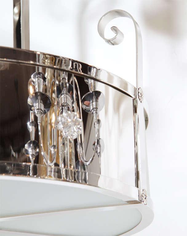 Outstanding Art Deco Chandelier With Nickeled Bronze 1