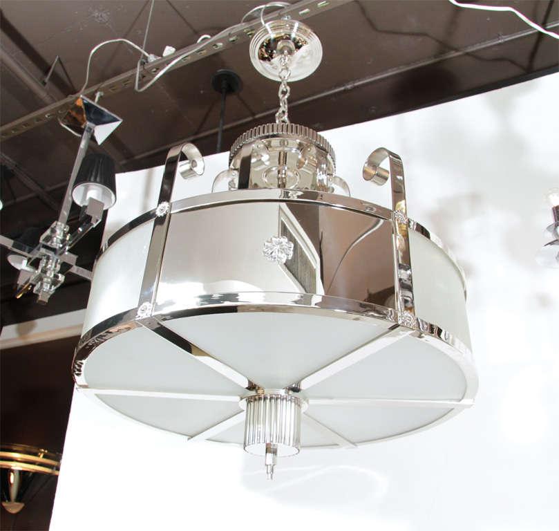 Outstanding Art Deco Chandelier With Nickeled Bronze 4