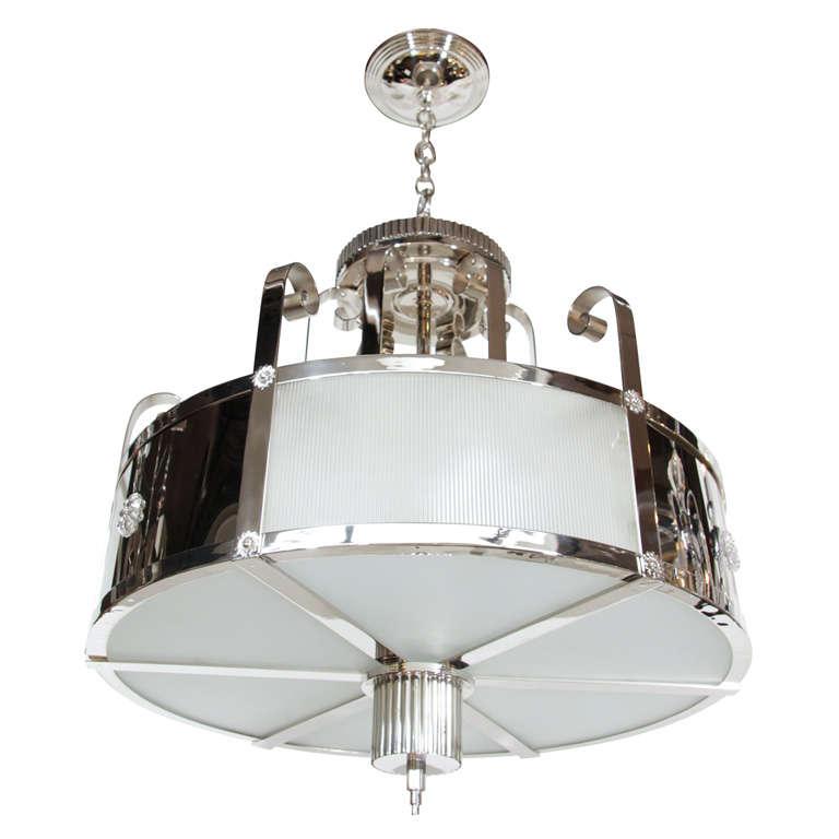 Outstanding Art Deco Chandelier With Nickeled Bronze