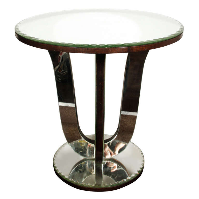 Classic Art Deco Mirrored Tulip Side Table At 1stdibs