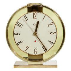 Art Deco Brass Clock With Circular Amber Glass Surround