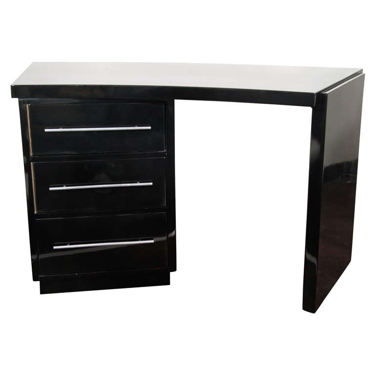 deco streamline curved black lacquer desk at 1stdibs