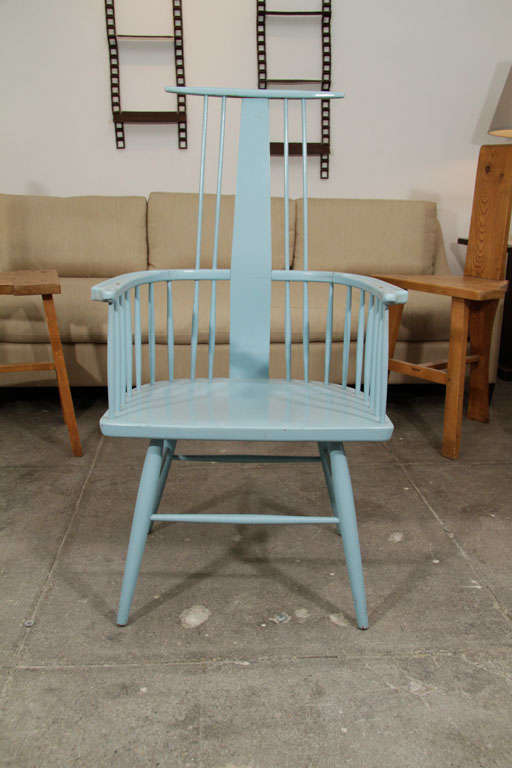 Pair of Blue Windsor Chairs image 3