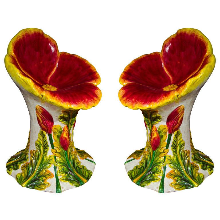 Set  of 4 (or pair) Italian Glazed Terracotta Garden Seats