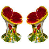 Set  of 4 (or pair) Italian Glazed Terracotta Garden Seats